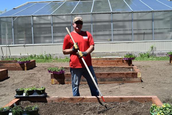 volunteer raking